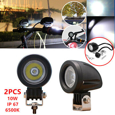 Pair Car Motorcycle LED Focused Beam Driving Fog Spot Light Headlight Lamp 6500K