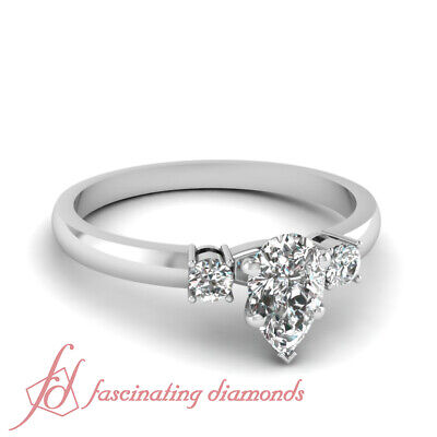 Delicate Pear Shaped Diamond Three Stone Engagement Ring For Women 0.60 Carat