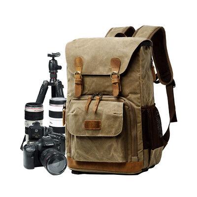 Camera Backpack DSLR SLR Canvas Waterproof Anti-shock Padded Camera Travel Bag