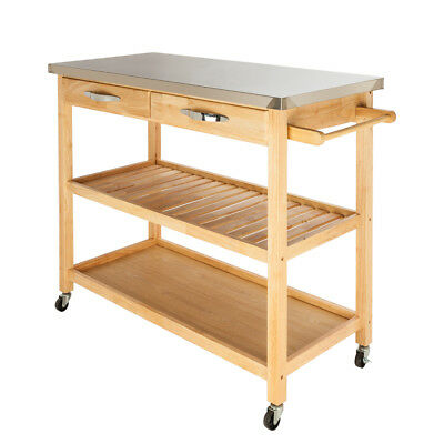 Kitchen Island Shelves - Wood 2 Shelves Drawers Large Size Kitchen Island Rolling Cart Stainless Top