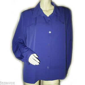 Womens Royal Navy Blue Collar Long Sleeve Button Down