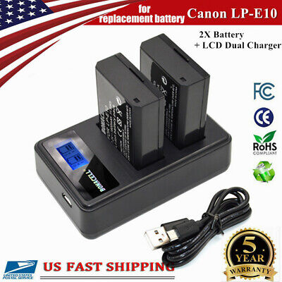 2X LP-E10 Battery+Dual Charger For Canon Rebel T3 T5 T6 T7 EOS 1100D 1200D 1300D