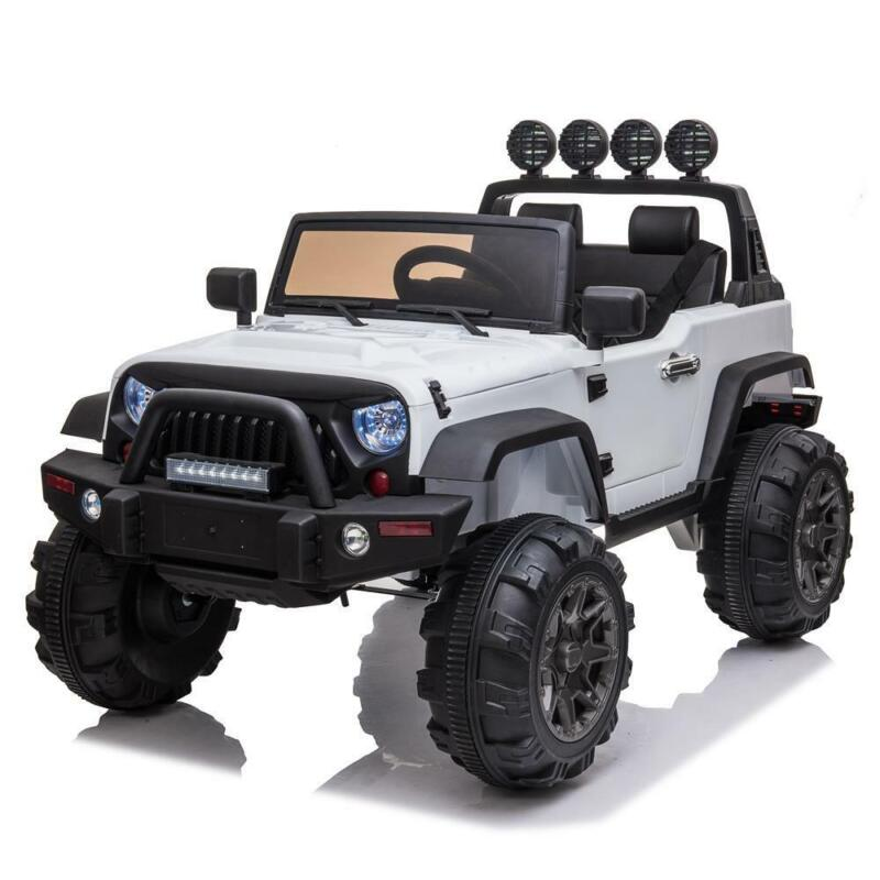 12V White Electric Kids Ride on Car Truck Toys 3 Speeds MP3 LED w/Remote Control