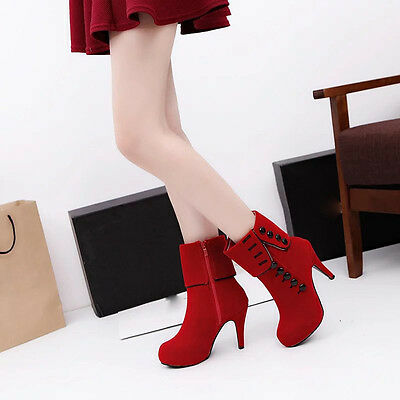 Fashion Women Ankle Boots High Heels Party Sexy Leather Snow Winter Boots Shoes