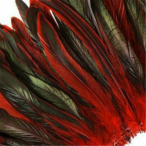 "50 Under 6"" Red Half Bronze Schlappen Strung Rooster Feathers  US Seller"