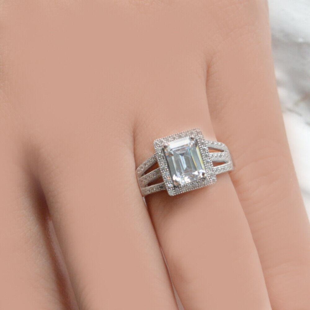 GIA Certified Diamond Engagement Halo Ring 4.80 carat Emerald & Round Cut 18k