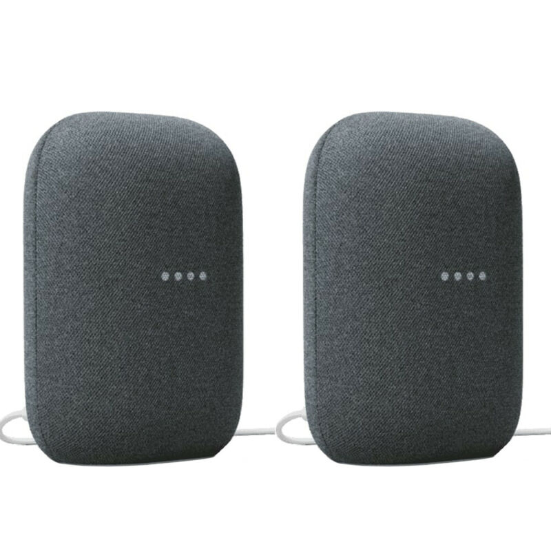 Google Nest Audio Smart Speaker Charcoal Surround Sound (GA01586-US) - (2-Pack)