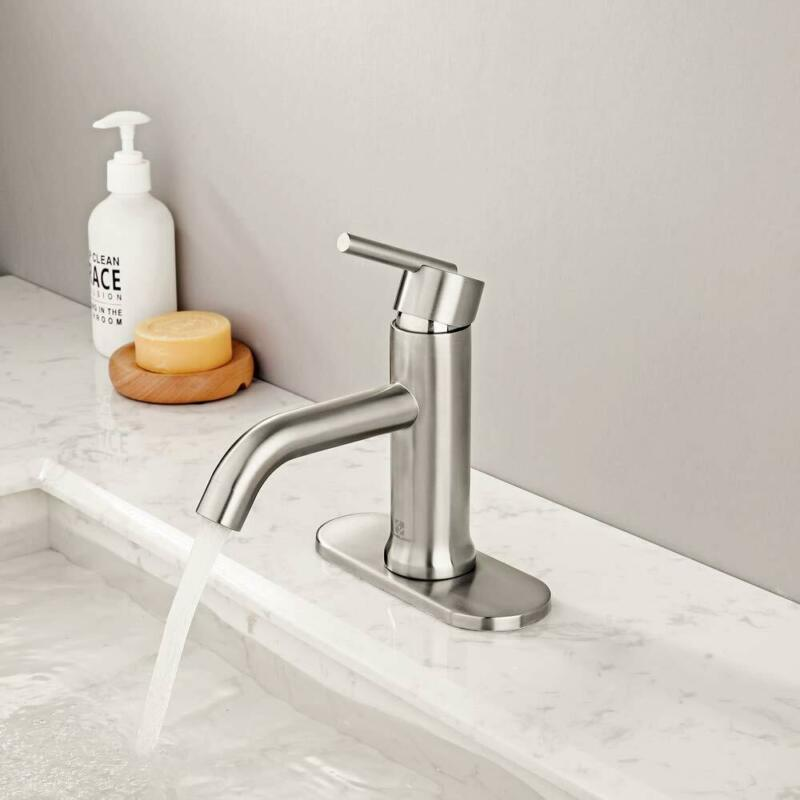 Brushed Nickel Bathroom Sink Faucet Vanity Basin Brass Mixer Tap with Cover
