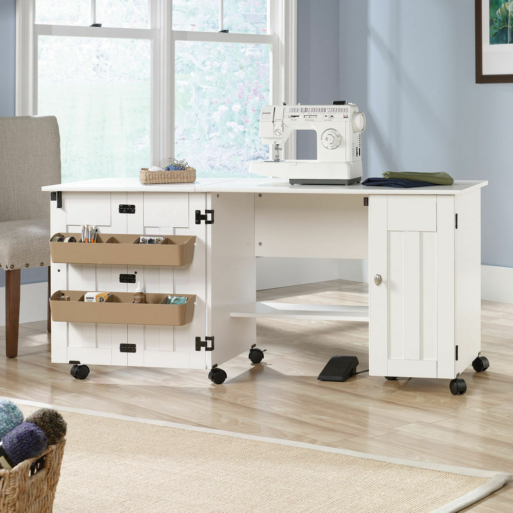 Sewing Machine Table Cabinet Craft Storage Desk Dresser Drop Leaf Bins White