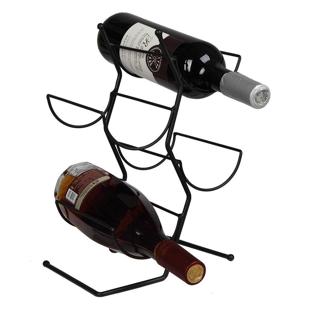 Black 4 Bottle Metal Wine Rack For Tabletop Or Countertop Minimalist Design 208 Ebay