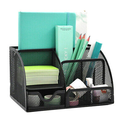 Mesh Office Desk Organizer Caddy With 6 Compartment Drawer Pen Pencil Holder