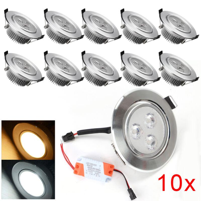 10X 3W LED Decken Spot Einbaustrahler Strahler Set Einbauleuchte Küche Warmweiß