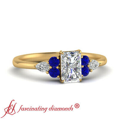 Yellow Gold Tapered Wedding Ring With 3/4 Carat Radiant Cut Diamond And Sapphire