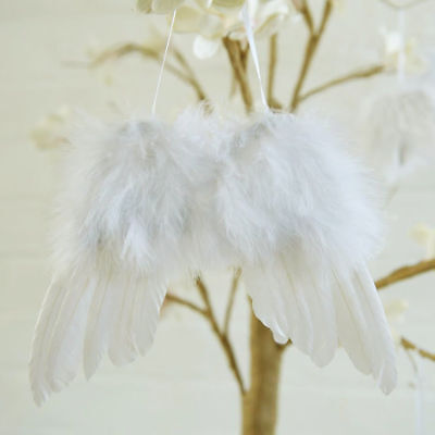 5/10Pcs White Vintage Feather Hanging Angel Wings Christmas Tree Wedding Decor