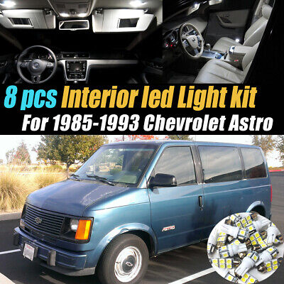 8Pcs Super White Car Interior LED Light Bulb Kit for 1985-1993 Chevrolet Astro