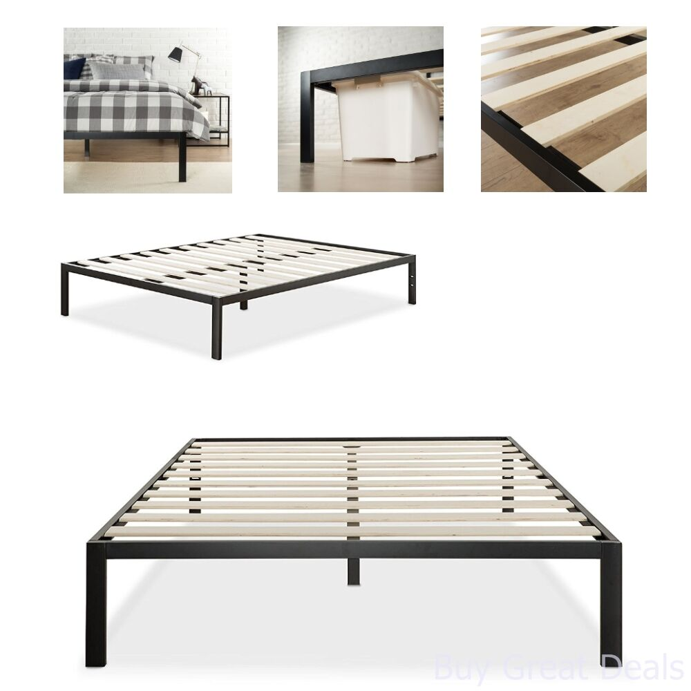 Details About Metal Bed Frame Mattress Foundation No Box Spring Needed Wooden Slat Queen Black