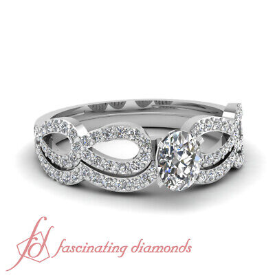 .80 Ct Oval Shape SI1-D Color Diamond Infinity Design Wedding Rings Pave Set GIA