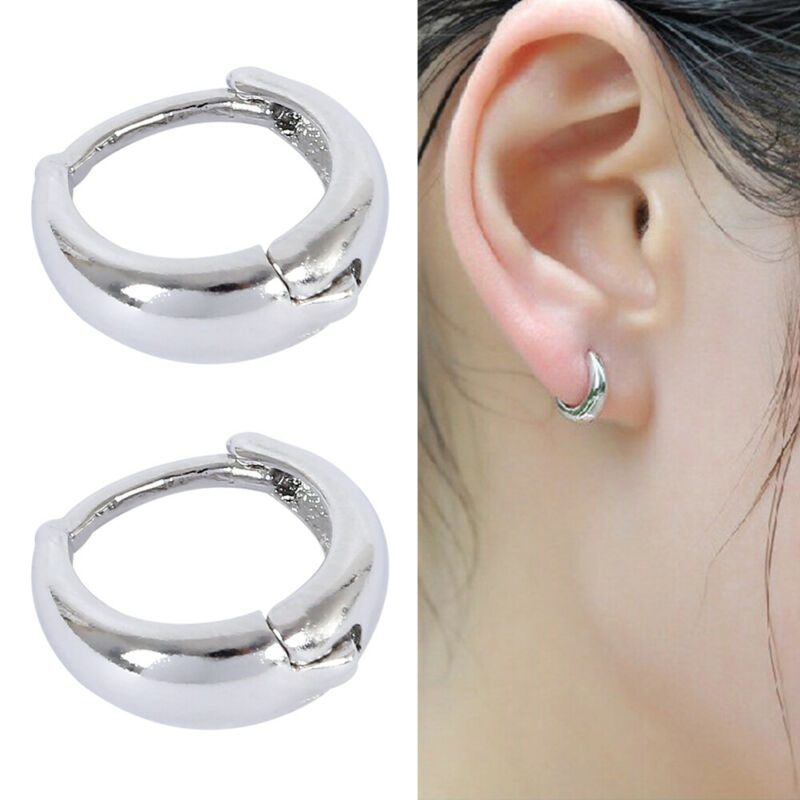 925 Small Round Womens Mens Sterling Silver Hoop Sleeper Hug