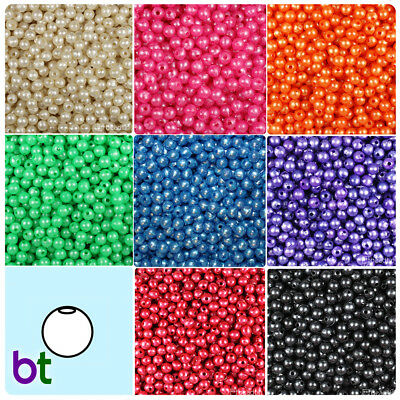 Pearl Plastic Beads - BeadTin Faux Pearl 6mm Round Plastic Craft Beads (500pcs) - Color choice