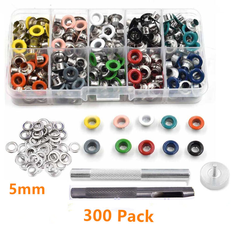 300pcs Grommet Eyelet With Washer Installation +5mm Hole Punch For Clothes Craft