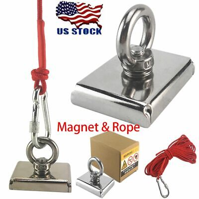 700lbs Square Fishing Magnet 33ft Rope Magnetic Strong Treasure Hunting Pulling