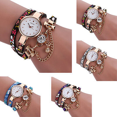 Woman Watch Leather Bracelet Rhinestone Analog Quartz Wrist Watches Watch  mt