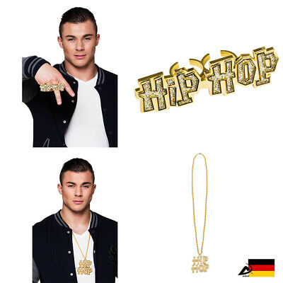 Goldene Hip Hop Halskette Rapper Ring Hip Hop Ring Fasching Karneval Kostüm