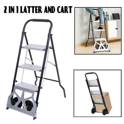 2-in-1 Practical 3-step Ladder And Hand Truck Trolley Cart Folding W Two Wheels