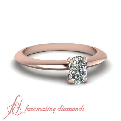 1/2 Ct Rose Gold Cushion Cut Diamond Knife Edge Solitaire Engagement Ring GIA