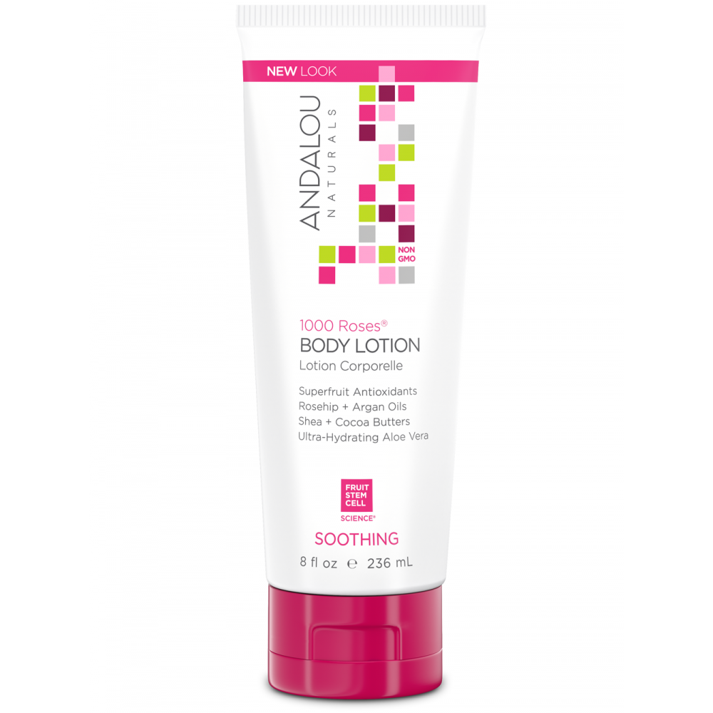 Available in 8 oz Andalou Naturals Body Lotions and also One