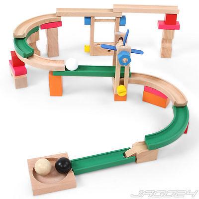 Kugelbahn Murmelbahn Holzkugelbahn Lernspielzeug Motorikspielzeug Bauen Holz Neu