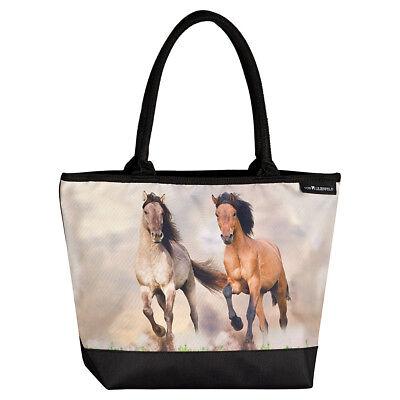 Schultertasche Umhängetasche Shopper Mustang Damen Motiv Kinder groß Wildpferde  - Pferde Schulter Tasche