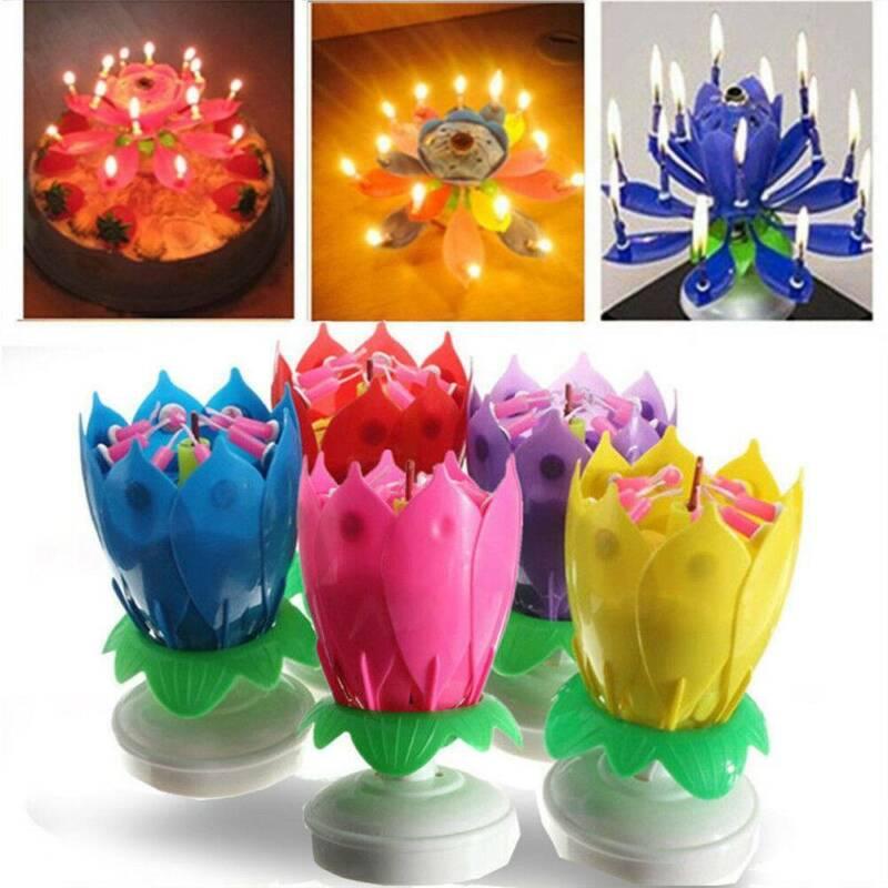 Magic Cake Birthday Lotus Flower Candle Decoration Blossom M