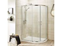 Pacific Offset Quadrant Shower Enclosure inc Tray & Waste 1000x800mm BRAND NEW
