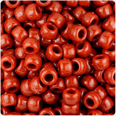 500 Rust Red Opaque 9x6mm Barrel Pony Beads Made in the USA by The Beadery](Red Plastic Beads)