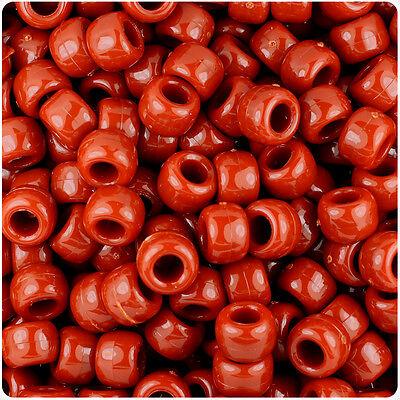 500 rust red opaque 9x6mm barrel pony