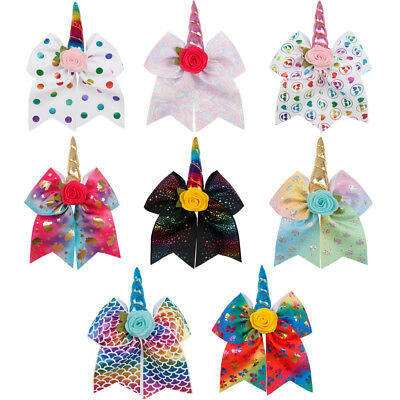 7 inch Unicorn Hair Bow with clips Cheer leader Bows Kids Girls Hair Accessories