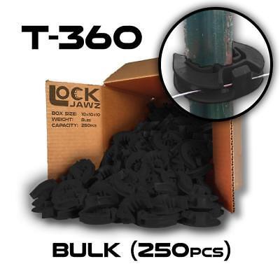 Lockjawz - Black - T-360 Electric Fence Insulators. Line Corner Post 250 Pk