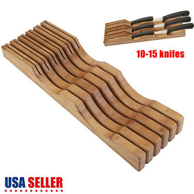 - Kitchen Bamboo Cutlery Drawer 10-15 Knife Block Storage Organizer Holder Rack US