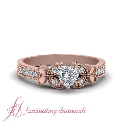 Rose Gold Butterfly Milgrain Engagement Ring With Heart Shaped Diamond One Carat