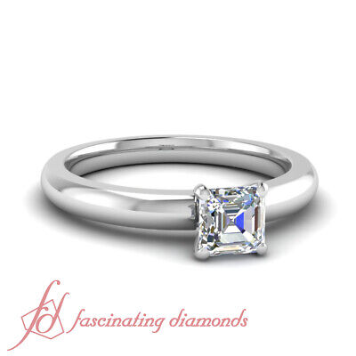 Affordable 0.33 Ctw Asscher Cut Solitaire Diamond Rings For Mothers GIA VVS2