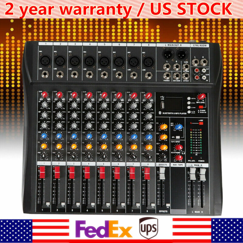 8 Channel bluetooth Live Studio Audio Mixer Mixing Console USB