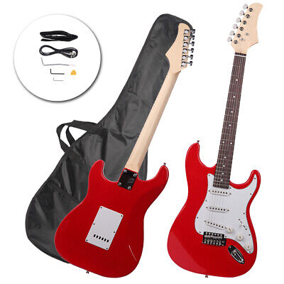 New School Red Beginner Red Electric Guitar Set with Gig Bag