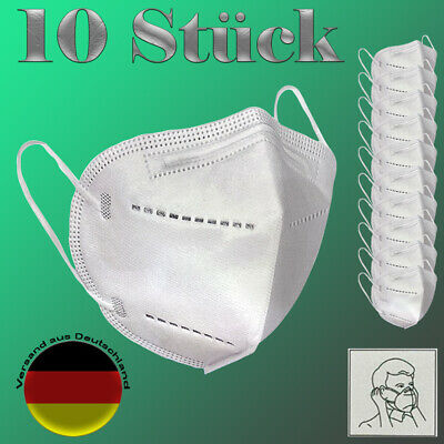 10 Stück Atemschutzmaske FFP2 KN95 Mundschutz Nasenschutz Atemmaske Schutzmaske