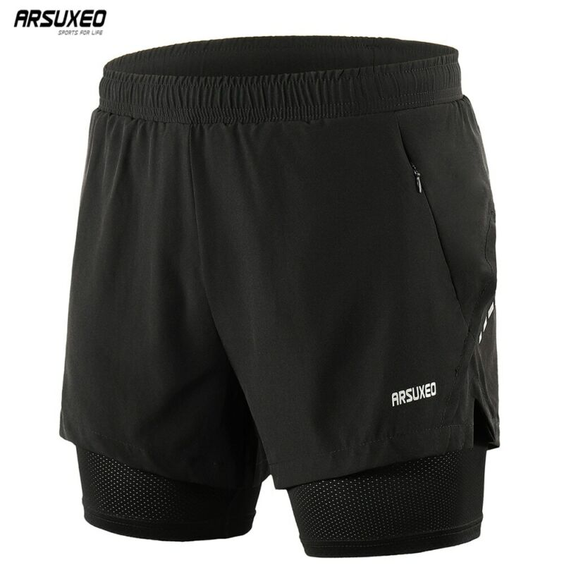 Men's Running Shorts 2 In 1 Training Exercise Jogging Sports Shorts With Liner