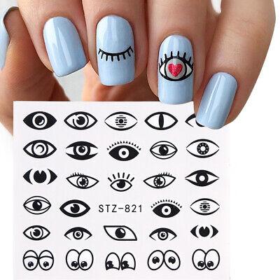 Halloween Eyes Nail Art (Nail Art Water Decals Stickers Transfers Halloween Black Eyes Eye Spooky)