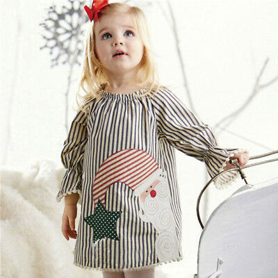 Toddler Kids Baby Girls Santa Striped Princess Dress Christmas Outfits - Childrens Santa Outfits