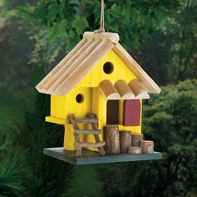 rustic yellow Wood fairy country log cabin Bird house decorative birdhouse