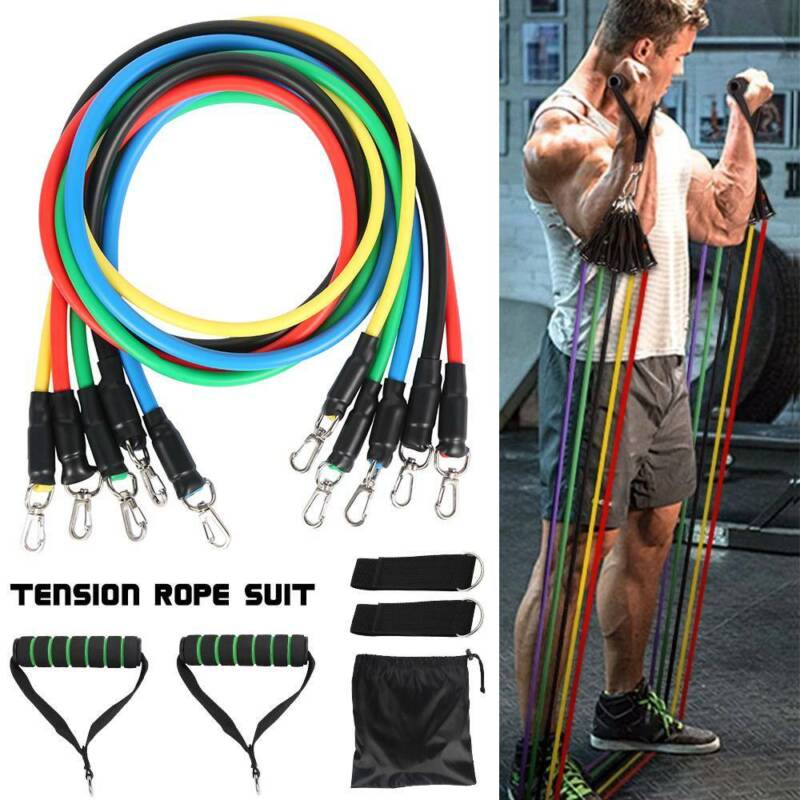 11PCS Resistance Gym Bands Set Pull Rope Home Workout Fitnes
