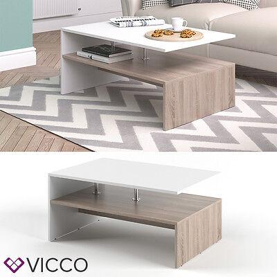 VICCO Couchtisch AMATO in Weiß / Eiche Sonoma - Wohnzimmer Sofatisch Kaffeetisch ()